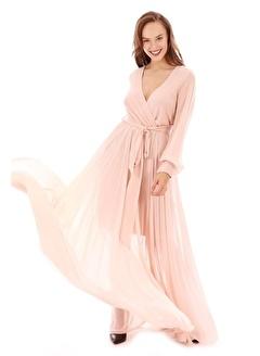 Carmen Şifon Kruvaze Uzun Kollu Abiye Elbise